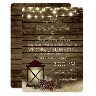 Pine Cones and Lantern Rustic Barnwood Lights Invitation