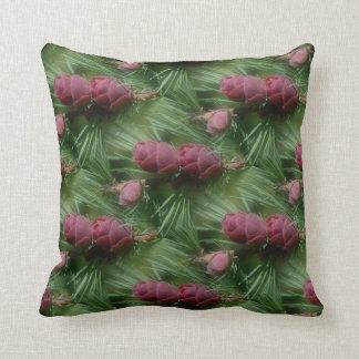 Pine Cones And Pine Needles Nature Pattern Throw Pillows