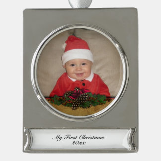 Pine Cones and Ribbon First Christmas Silver Plated Banner Ornament