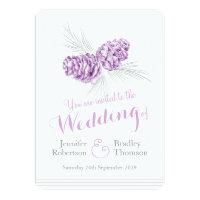 Pine cones art purple grey wedding invitations