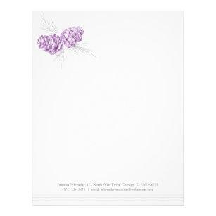 pine cones art purple grey wedding letterhead