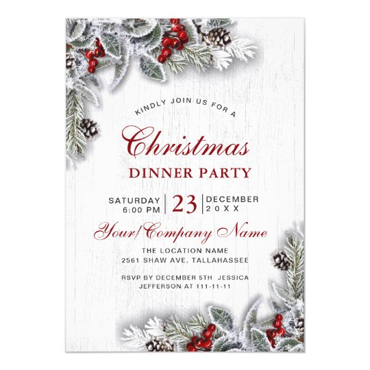 Pine Cones Branch Rustic Christmas Dinner Party Invitation