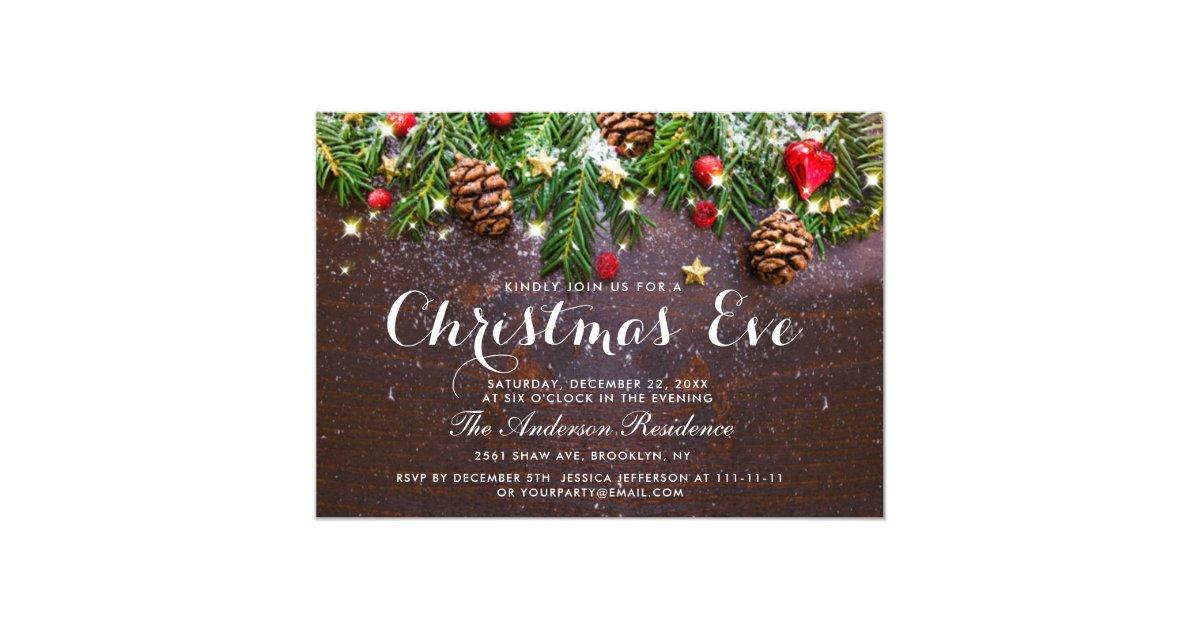 Pine Cones Branch Rustic Holiday Christmas Eve Invitation Zazzle Com