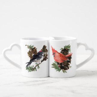 Pine Cones Cardinal and Woodpecker Lovers Mugs