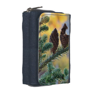 Pine Cones Denim Wallet with Coin Purse