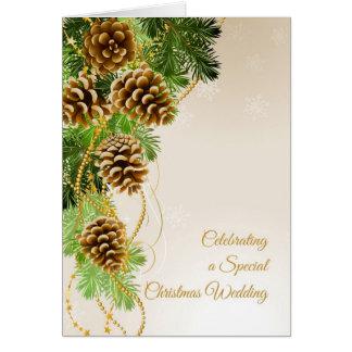 Pine Cones, Evergreens, Christmas Wedding Congrats Greeting Card
