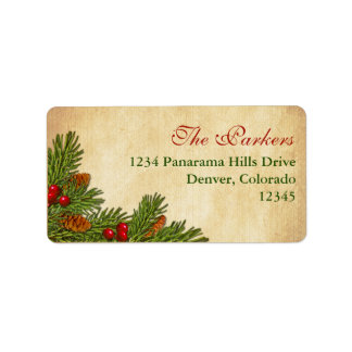 Pine Cones Holly Berries Return Address Label