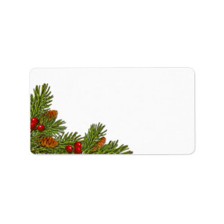 Pine Cones Holly Berries Xmas Blank Address Label