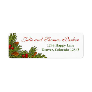 Pine Cones Holly Berries Xmas Return Address Label