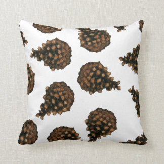 Pine Cones: Nature Art in Oil Pastel Throw Pillows