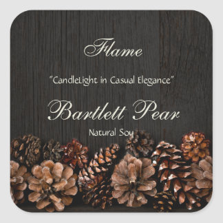 Pine Cones on Rustic Wood Candle Label Square Sticker