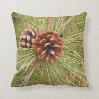 Pine Cones on Tree Design Throw Pillow