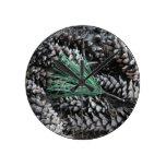 Pine Cones & Pine Needles Round Clock