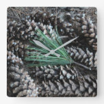 Pine Cones & Pine Needles Square Wall Clock