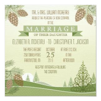 """Pine Cones Wedding Invitation 5.25"""" Square Invitation Card"""