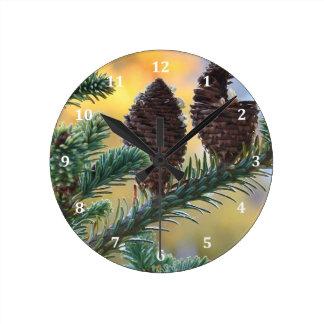 Pine Cones Woodlands Nature Scene Round Clocks