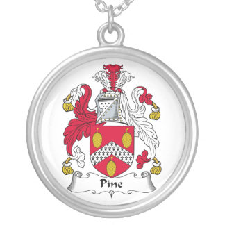 Pine Family Crest Silver Plated Necklace