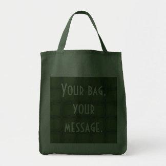 Pine & Fir Green Retor Squares Stars Canvas Bag