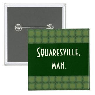 Pine & Fir Green Retor Squares Stars Pinback Buttons