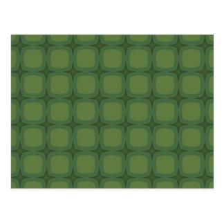 Pine & Fir Green Retor Squares Stars Postcard