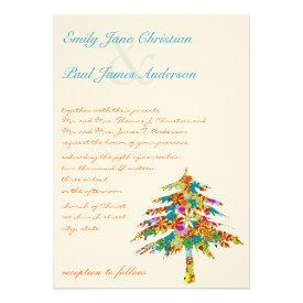 Pine Flower Tree Wedding Invitations