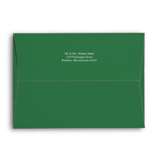 Pine Forest Green A7 Envelope with return address