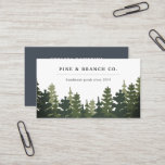 """Pine Forest Logo Business Card<br><div class=""""desc"""">Rustic elegant business card design features a forest of pine trees in muted shades of hunter and forest green, with two lines of custom text for your business name and/or your name and business description, in a chic combo of block and italic lettering. Add your full contact information to the...</div>"""