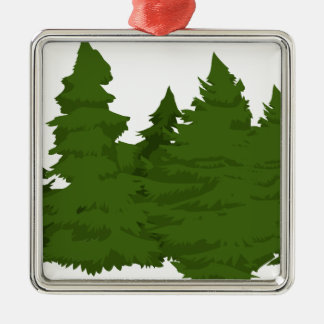 Pine Forest Silver-Colored Square Decoration