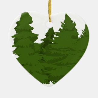Pine Forest Ceramic Heart Decoration