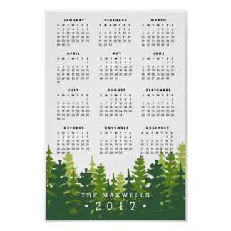 Pine Forest   Personalized 2017 Calendar Poster