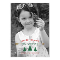 Pine Forest Photo Holiday Greeting Magnetic Card