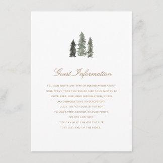 Pine Forest  Wedding Insert
