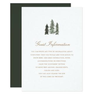 Pine Forest  Wedding Insert Card