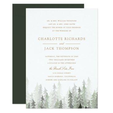 origamiprints Pine Forest Wedding Invitation