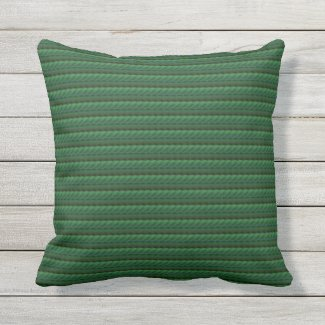 Pine Green Braided Print Outdoor Pillow 16x16