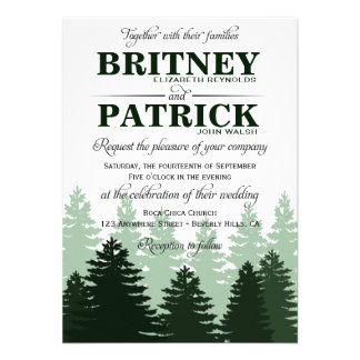 Pine Green Enchanted Forest Wedding Invitations