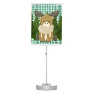 Pine Green Gingham•Arctic Moose•Nursery Desk Lamp