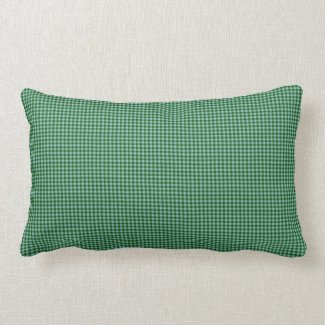 Pine Green Gingham Check Indoor Lumbar Pillow