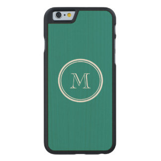 Pine Green High End Colored Monogrammed Carved® Maple iPhone 6 Case