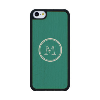 Pine Green High End Colored Monogrammed Carved® Maple iPhone 5C Slim Case