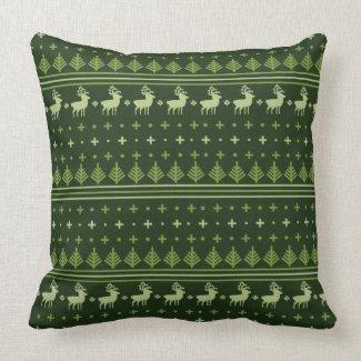 pine green reindeer Christmas pillow