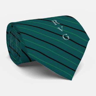 PINE Green Striped Custom Initials Medical Tie