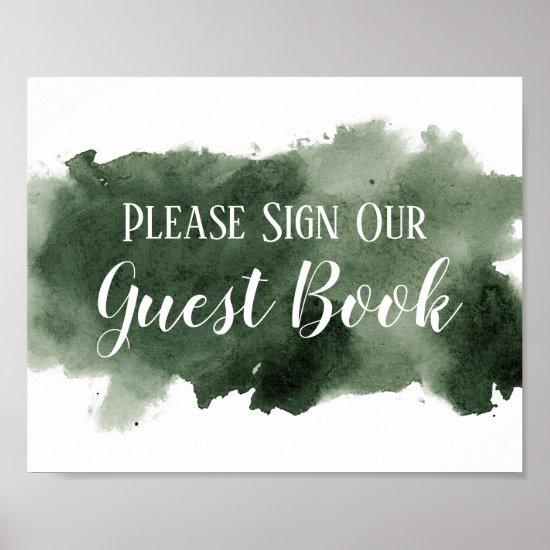 Pine Green Watercolor Wash Guest Book Wedding