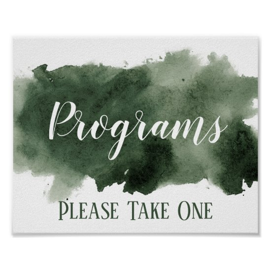 Pine Green Watercolor Wash Programs Wedding Poster