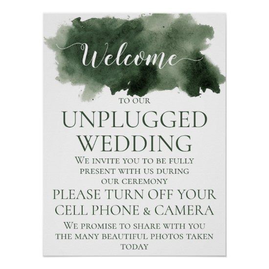 Pine Green Watercolor Wash Unplugged Wedding Poster