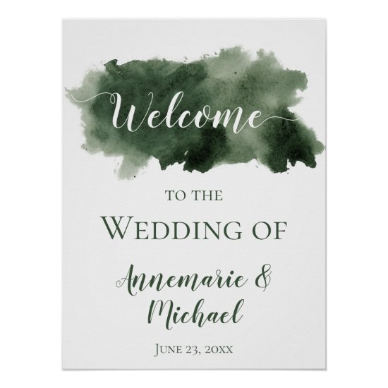 Pine Green Watercolor Wash Welcome to Our Wedding Poster