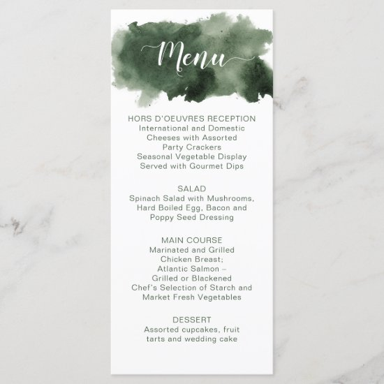 Pine Green Watercolor Wash Winter Wedding Menu