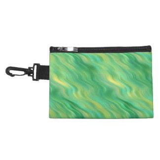 Pine Green Wavy Texture Accessory Bag