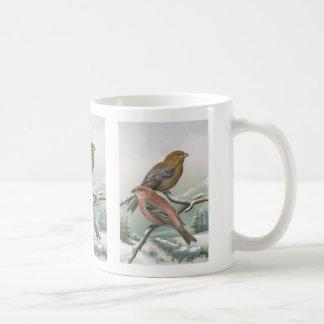 Pine Grosbeak Vintage Bird Illustration Coffee Mug