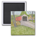 Pine Grove Covered Bridge II - Lancaster 2 Inch Square Magnet
